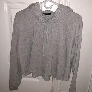 Brandy light grey cropped hoodie